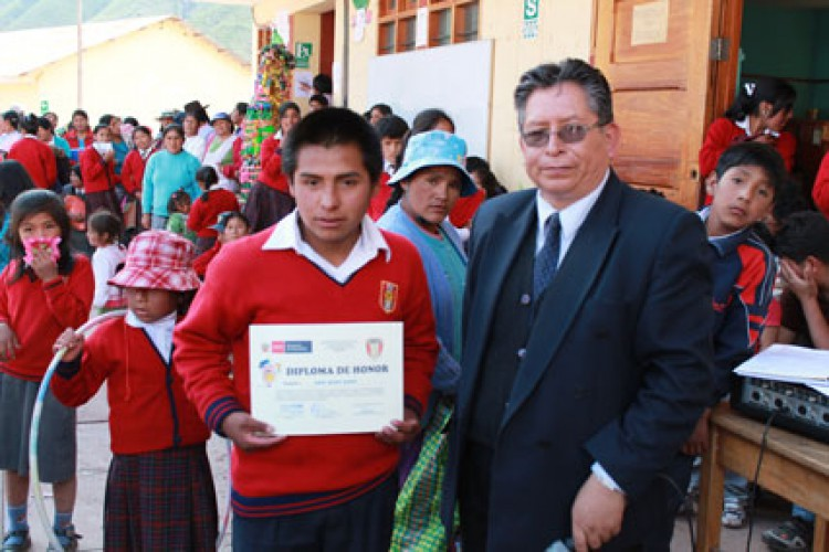 Receiving certificate at the local school